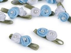 Szatén rózsa gyöngyökkel 10 db/csomag - Kék