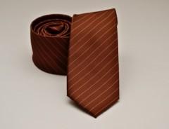 Prémium slim nyakkendő - Barna csíkos