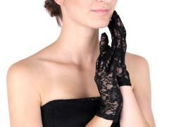 Alkalmi csipkekesztyű - Fekete Női kesztyű