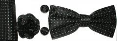Díszdobozos csokornyakkendő szett 4 részes - Fekete pöttyös Szettek