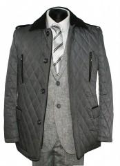 Tavaszi férfi steppelt kabát - Szürke Férfi kabát, zakó