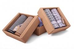 Férfi zsebkendő csomag dobozban - 2 db Pamut zsebkendő