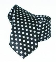 Goldenland slim nyakkendő - Fekete pöttyös Mintás nyakkendők