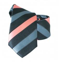 Goldenland slim nyakkendő - Lazac-szürke csíkos