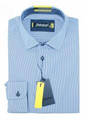 Goldenland smart fitt hosszúujjú ing - Kék hajszálcsíkos Hosszúujjú ing