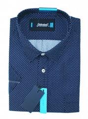 Goldenland extra rövidujjú ing - Kék aprómintás Extra méret