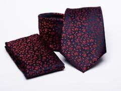 Prémium nyakkendő szett - Piros virágos Nyakkendő szettek