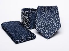 Prémium nyakkendő szett - Kék virágos Nyakkendő szettek