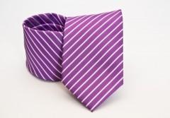 Prémium nyakkendő -  Lila-fehér csíkos