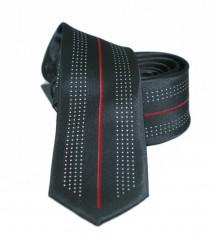 NM slim nyakkendő - Fekete-piros mintás