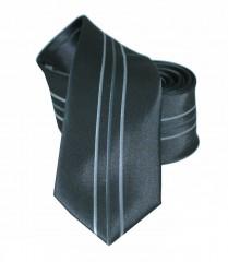 NM slim nyakkendő - Fekete-szürke csíkos