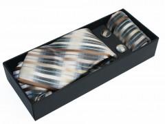 NM nyakkendő szett - Drapp csíkos Szettek