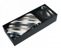 NM nyakkendő szett - Barna-szürke csíkos Szettek