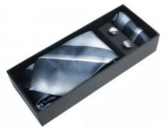 NM nyakkendő szett - Acélkék csíkos Szettek