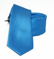 NM slim szatén nyakkendő - Azúrkék