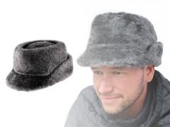 Férfi műszőr sapka - Szürke Férfi kalap, sapka