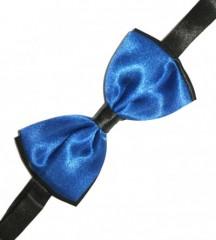 Gyerek szatén csokornyakkendő - Fekete-királykék Csokornyakkendő