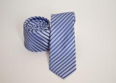Prémium slim nyakkendő - Kék-ezüst csíkos