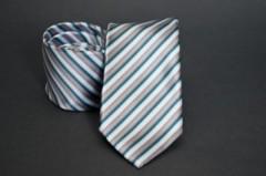 Prémium nyakkendő -  Ezüst-tűrkíz csíkos