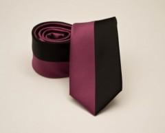 Prémium slim nyakkendő -  Pink-fekete csíkos
