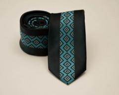 Prémium slim nyakkendő -  Fekete-tűrkíz mintás