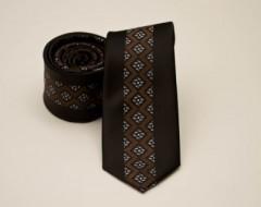 Prémium slim nyakkendő -  Barna mintás