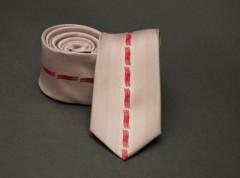 Prémium slim nyakkendő -  Púder-piros mintás
