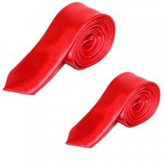 Szatén apa-fia nyakkendő szett - Piros Apa-fia szettek