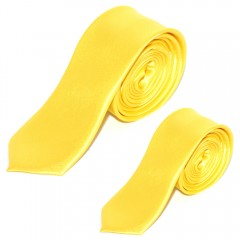 Szatén apa-fia nyakkendő szett - Sárga Apa-fia szettek
