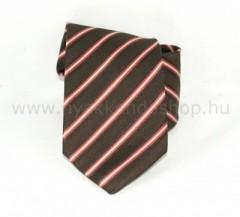 Saint Michael selyem nyakkendő - Barna-piros csíkos