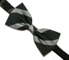 Csokornyakkendő - Fekete-szürke csíkos Csokornyakkendők