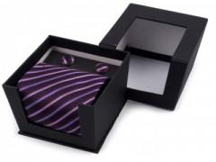 Díszdobozos nyakkendő - Lila mintás