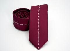 Prémium slim nyakkendő - Meggypiros mintás