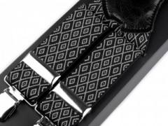 Férfi nadrágtartó - Fekete-fehér mintás Nadrágtartók