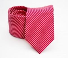 Prémium selyem nyakkendő - Piros csíkos Selyem nyakkendők