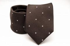 Prémium selyem nyakkendő - Sötétbarna-fehér mintás Selyem nyakkendők
