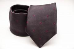 Prémium selyem nyakkendő - Sötétbarna-pink mintás Selyem nyakkendők