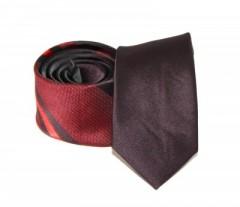 Goldenland slim nyakkendő - Bordó-piros csíkos
