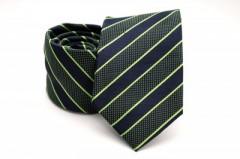 Prémium nyakkendő - Kék-almazöld csíkos