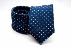 Prémium nyakkendő -  Kék-drapp pöttyös