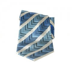 Saint Michael selyem nyakkendő - Kék-ezüst csíkos