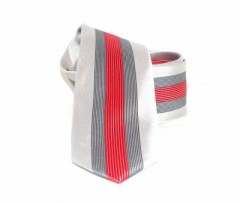 Goldenland slim nyakkendő - Ezüst-piros csíkos