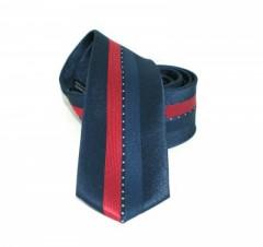 Goldenland slim nyakkendő - Kék-piros csíkos