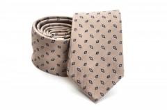 Prémium slim nyakkendő - Világosbarna mintás