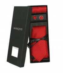 Marquis nyakkendő szett - Piros csíkos Szettek