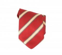 Classic prémium nyakkendő - Meggypiros-sárga csíkos Csíkos nyakkendő