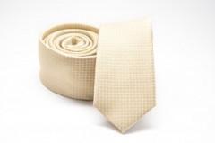 Prémium slim nyakkendő - Halványsárga mintás