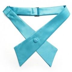 Szatén női kereszt nyakkendő - Türkízkék Csokornyakkendők