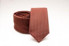 Prémium slim nyakkendő - Rozsdabarna mintás