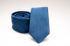 Prémium slim nyakkendő - Kék mintás